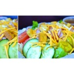 This salad comes with your choice of dressing.  The list of dressings can be found on the lunch menu page.